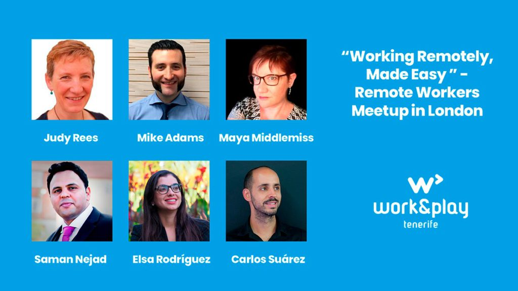 Panel de ponentes en el Working Remotely Meetup London 2019